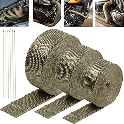 Exhaust Heat Wrap >> 16 5 Ft X 2 In Titanium Heat Wrap Exhaust Heat Shield Wrap Roll Basalt Fibre For Motorcycle Vehicle Boats Heat Proof Tape 6pcs Stainless Cable