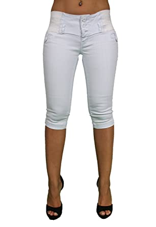 Elastic Waistband Super Sexy Stretch White Denim Capri By Pasion ...