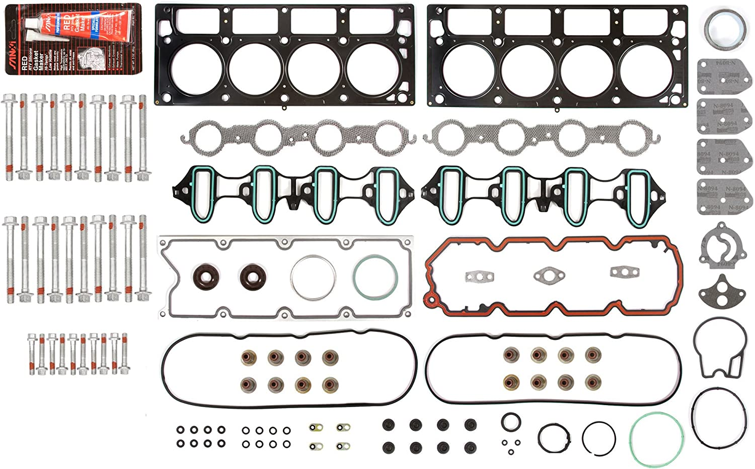 Evergreen HSHB8-10448L Cylinder Head Gasket Set Head Bolt