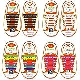 coolnice Lacci Elastici No Tie Lacci per Scarpe Bambini e Adulti Pizzo Elastico Impermeabile Pratica in Silicio per Scarpe Sportive Athletic da Corsa Sneaker Boots Bordo e Scarpe Casual