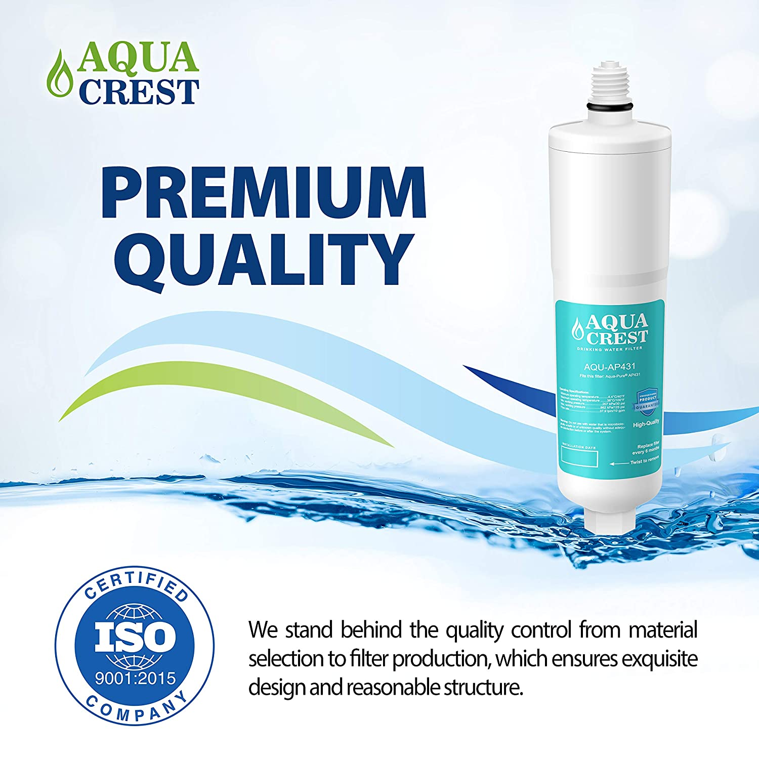 Pack of 3 AQUA CREST AQUACREST Replacement AP431 Cartridge Compatible with Aqua-Pure AP431 Hot Water Scale Inhibitor for AP430SS