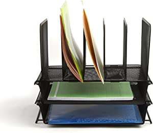 Mind Reader Mesh Desk Organizer 7 Trays Desktop Document Letter Tray for Folders, Mail, Stationary, Desk Accessories, Black