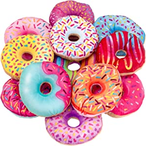 Kicko Plush Sprinkled Donuts Plush - 4 Inch - 12 Pack of Assorted Colors - Stuffed Food Plush for Kids, Sensory Role Play, Bedtime, Unicorn Party, Boy or Girl Birthday Gifts, Party Favors, and More
