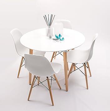 conjunto de cocina comedor nordik d100 con mesa redonda lacada blanco d