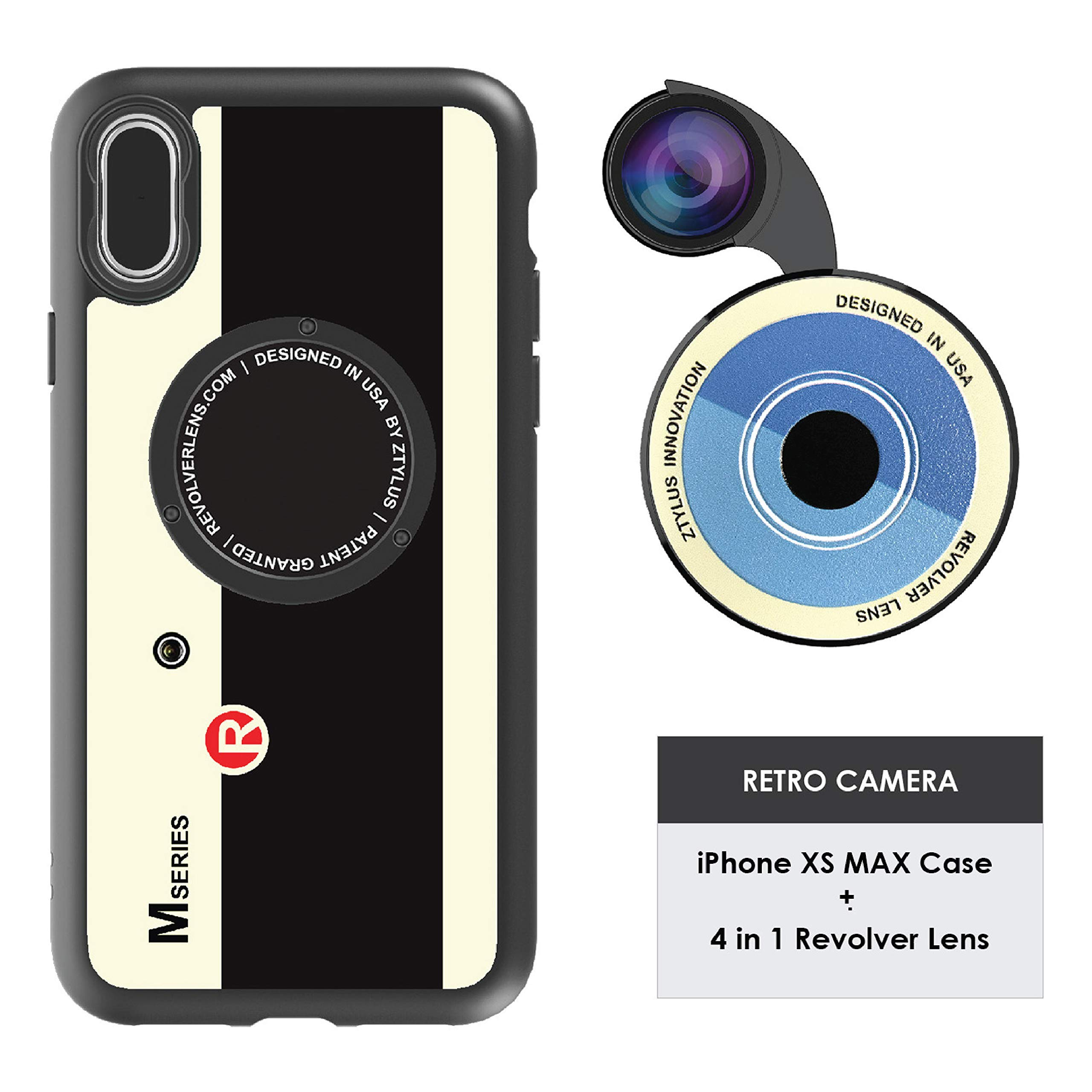 Ztylus Designer Revolver M Series Camera Kit: 4 in 1 Lens + iPhone Xs MAX Case, Smartphone Lens Kit Accessory - Fisheye Lens, Wide Angle Lens, Macro Lens, CPL (Retro Camera) by Ztylus