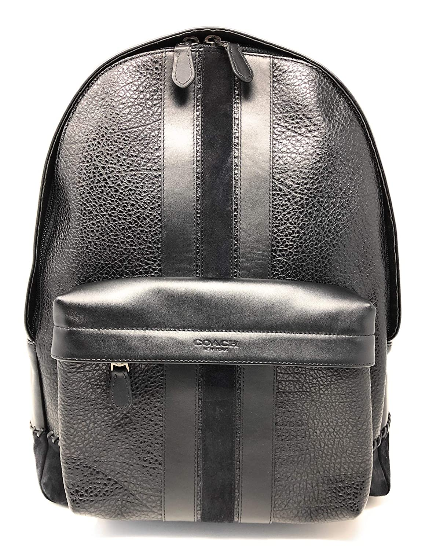 Coach Coach New York F11250 Charles Pebble Leather Baseball Stitch Backpack Bookbag, QB/Black
