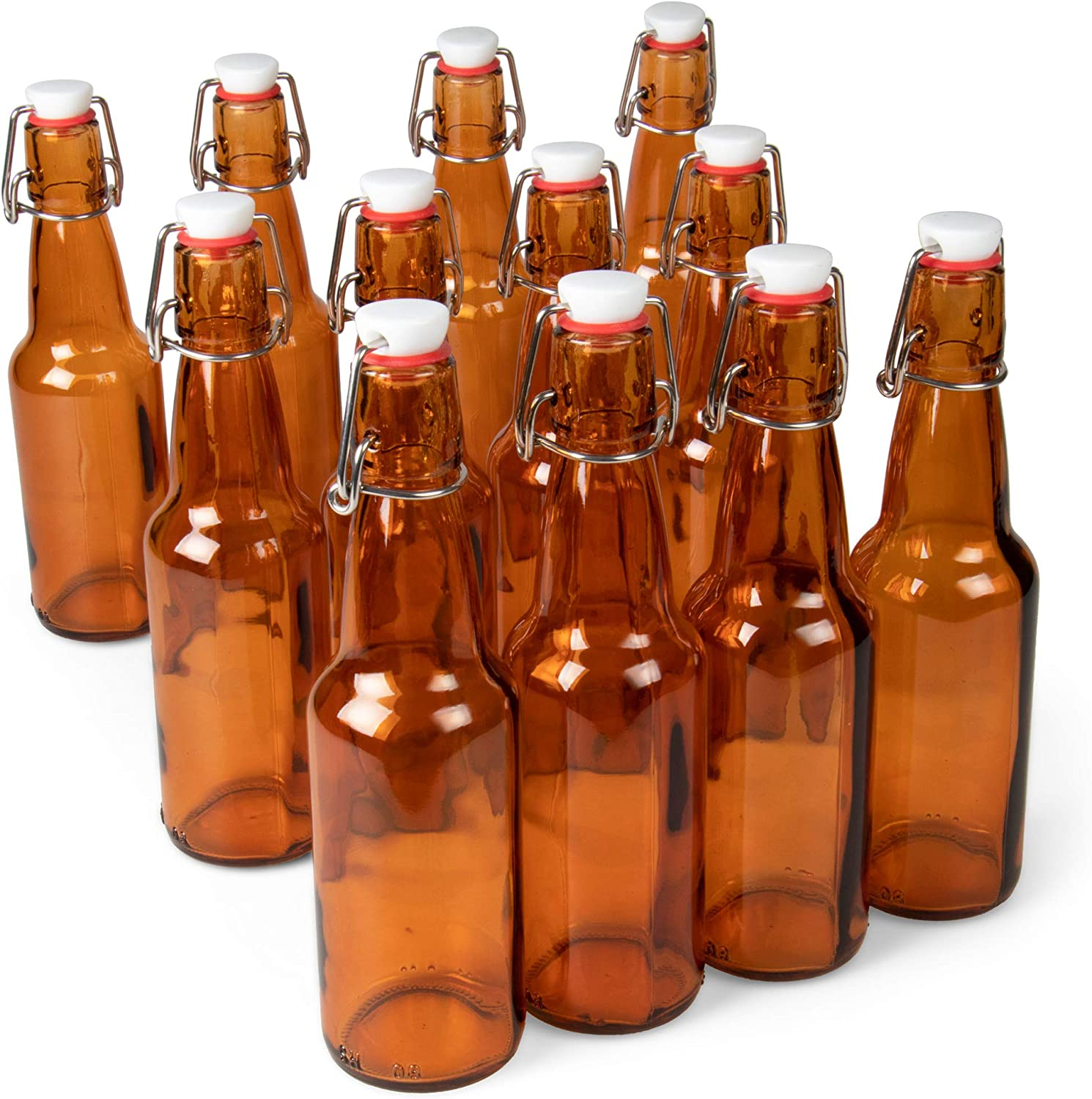 11 oz. Amber Glass Grolsch Beer Bottles – Airtight Seal with Swing Top/Flip Top Stoppers - Supplies for Home Brewing & Fermenting of Alcohol, Kombucha Tea, Wine, Homemade Soda (12-pack)