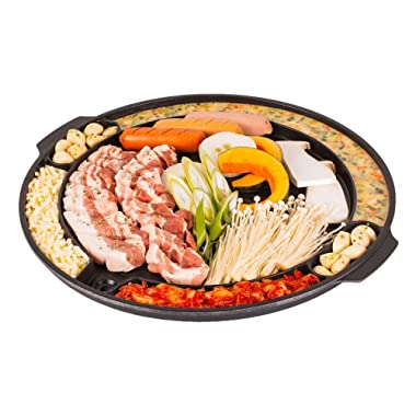 CookKing - Master Grill Pan, Korean Traditional BBQ Grill Pan - Stovetop Nonstick Indoor/Outdoor Smokeless BBQ Cast Aluminum Grill Pan