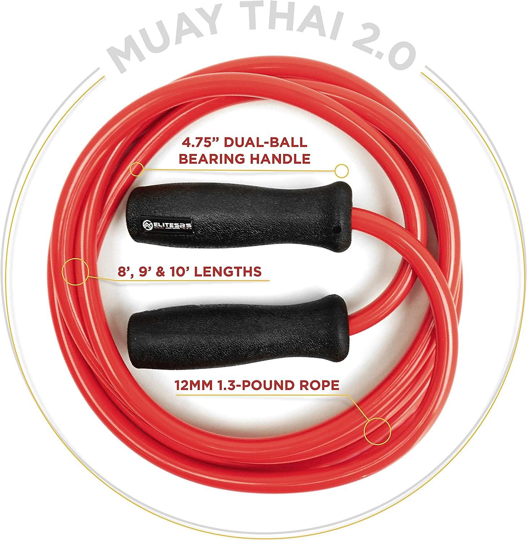 Schweres Trainings-Springseil Dicke 12 mm PVC-Seil EliteSRS Muay Thai Power Seil 2.0 Verbessert mit Dual-Kugellagern f/ür reibungslosen Spin robuste 12,4 cm Griffe