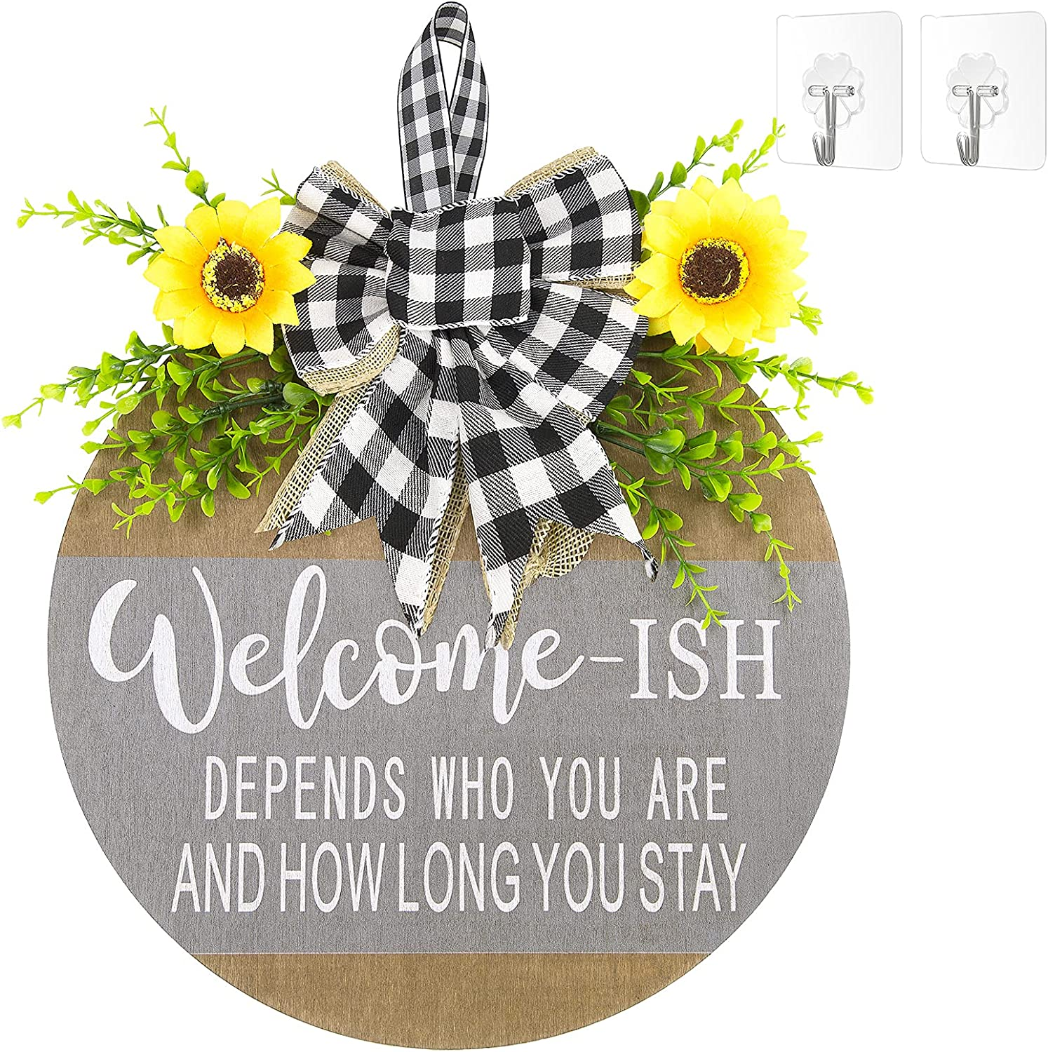 Welcome Sign Front Door Decor,Restaurant,home,outdoor,porch/home decoration,Wood 12Inch,New Year,Christmas, Easter,Housewarming Gifts (gray)