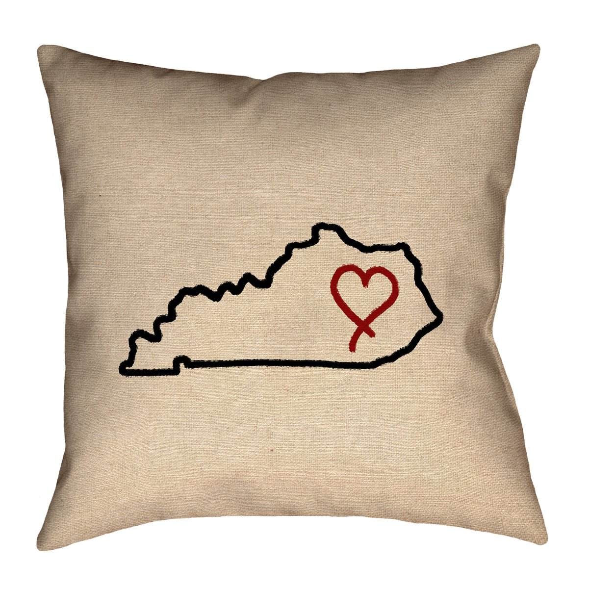 ArtVerse Katelyn Smith 26 x 26 Faux Suede Double Sided Print with Concealed Zipper /& Insert Kentucky Love Pillow