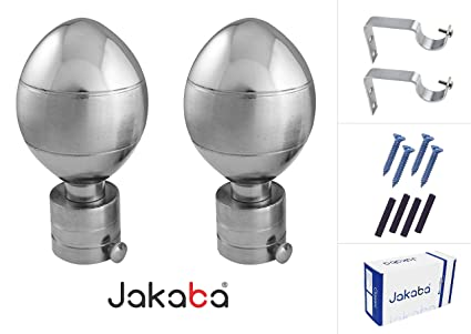 JAKABA Premium Quality Silver Finish Stainless Steel And Alloy Curtain Finials With Heavy Supports