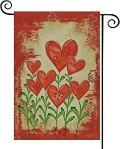 Ikfashoni Valentines Day Garden Flags, Love Heart Yard Flags, Red Seasonal Garden Flags for Outside, Burlap Couple Garden Yard Decorations, Romantic Garden Decor, 12.5 x 18