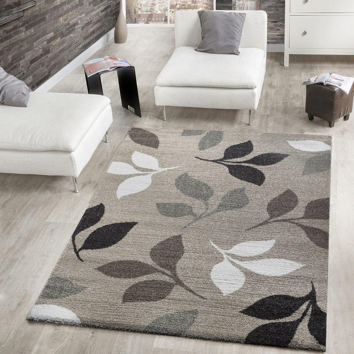Moderner Webteppich Kurzflor Mit Blätter Design Meliert In Beige Braun Creme, Größe 60x110 cm