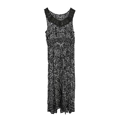 ca3949eb7e Bila Women's Crochet Lace Neck Boho Maxi Dress Cover Up With Smocked Waist  & Handkerchief Hem