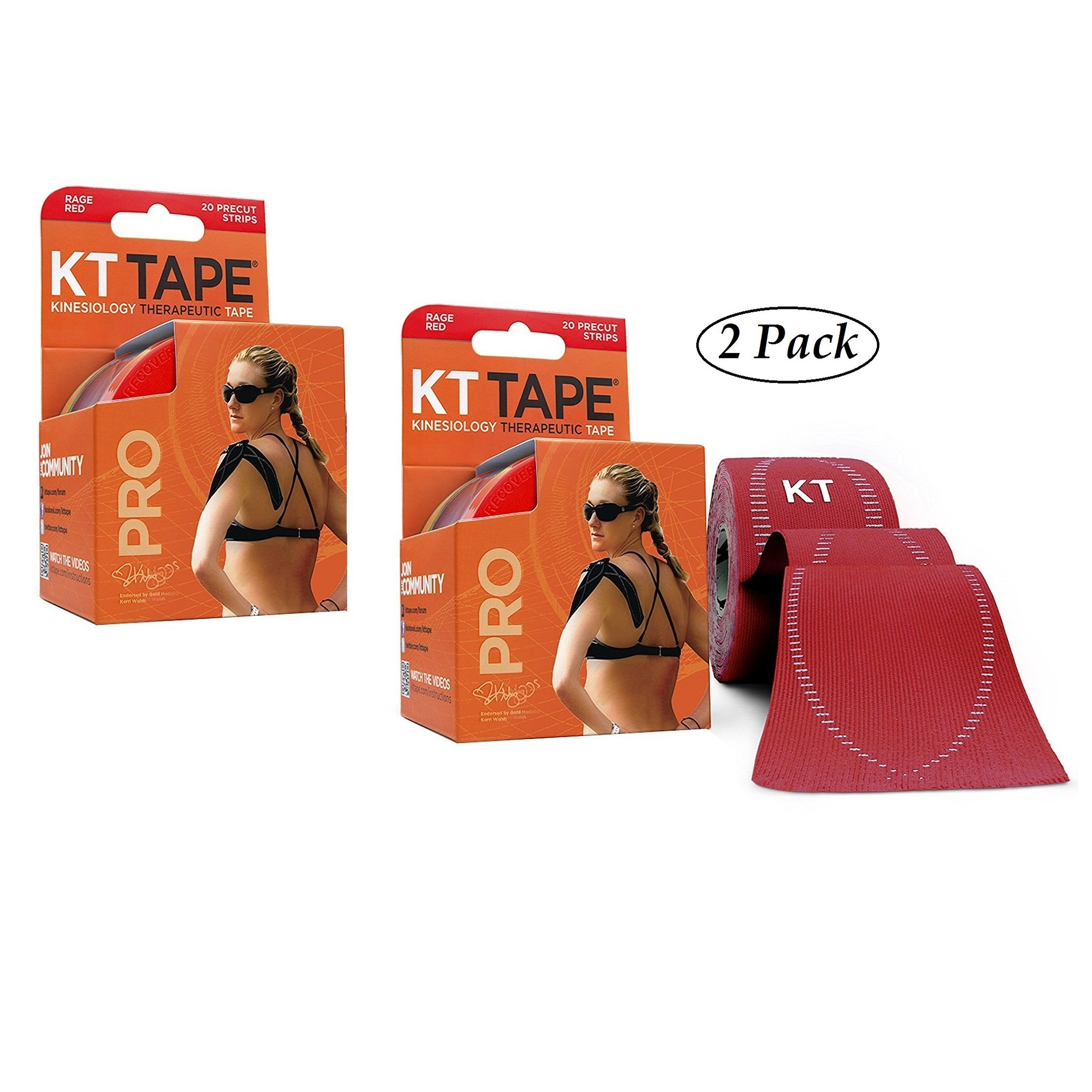KT Tape Pro Kinesiology Therapeutic Sports Tape, 20 Pre-cut 10 inch Strips, Rage Red (2 Pack)