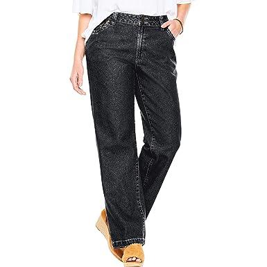 742b1c1f020 Woman Within Women s Plus Size Petite Wide Leg Cotton Jean at Amazon ...