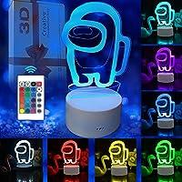 SCRENDY Among Us Luces de noche 3D, lámpara de ilusión 3D Lámpara de escritorio de mesa táctil que cambia de 16 colores…