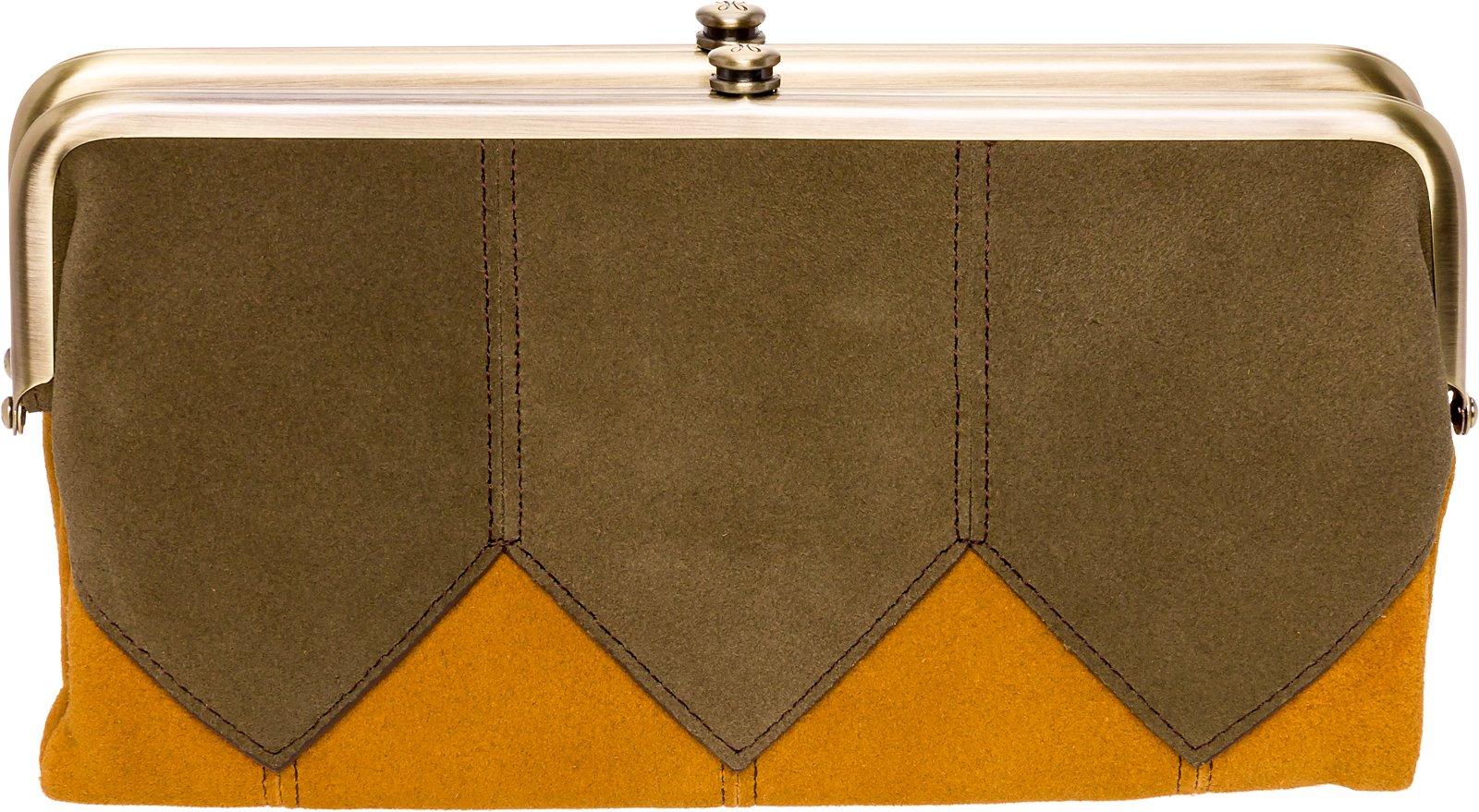Hobo Womens Suede Vintage Lauren Clutch Wallet Purse (Harvest & Sage)