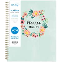 "Blue Sky 2020-2021 Academic Year Weekly & Monthly Planner, Frosted Flexible Cover, Twin-Wire Binding, 8.5"" x 11"", Laurel"