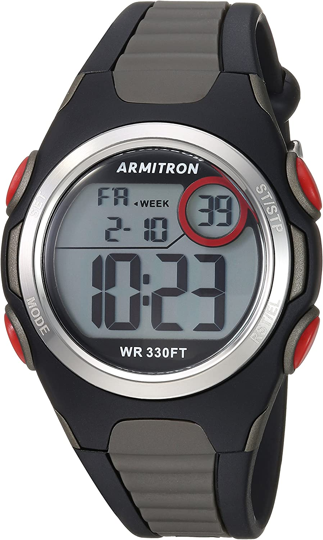 Armitron Sport Unisex 45/7076bog Rojo Acentuado con Digital Cronógrafo Negro y Gris Correa de Resina Reloj