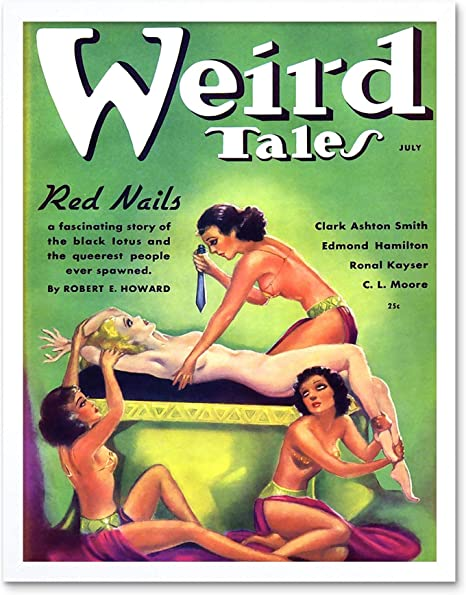 Magazine Cover 1936 Weird Tales Red Nails 12X16 Inch Framed Art Print