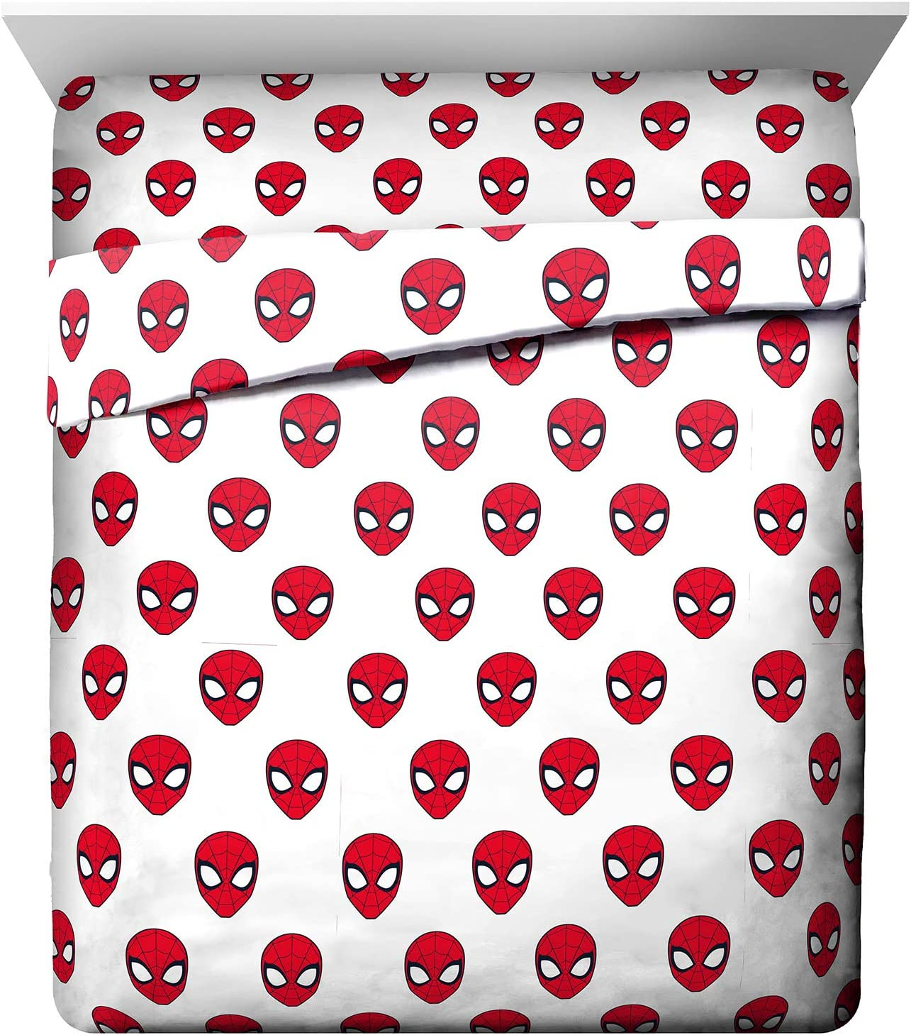 Marvel Spiderman Spidey Daze Queen Sheet Set - 4 Piece Set Super Soft and Cozy Kid's Bedding - Fade Resistant Microfiber Sheets (Official Marvel Product)