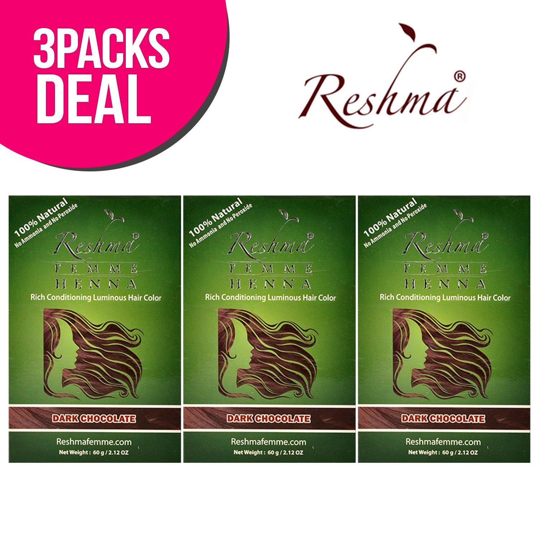 Reshma 100% Natural Henna Semi Permanent Hair Color 2.12oz (Dark Chocolate) (3-Pack)