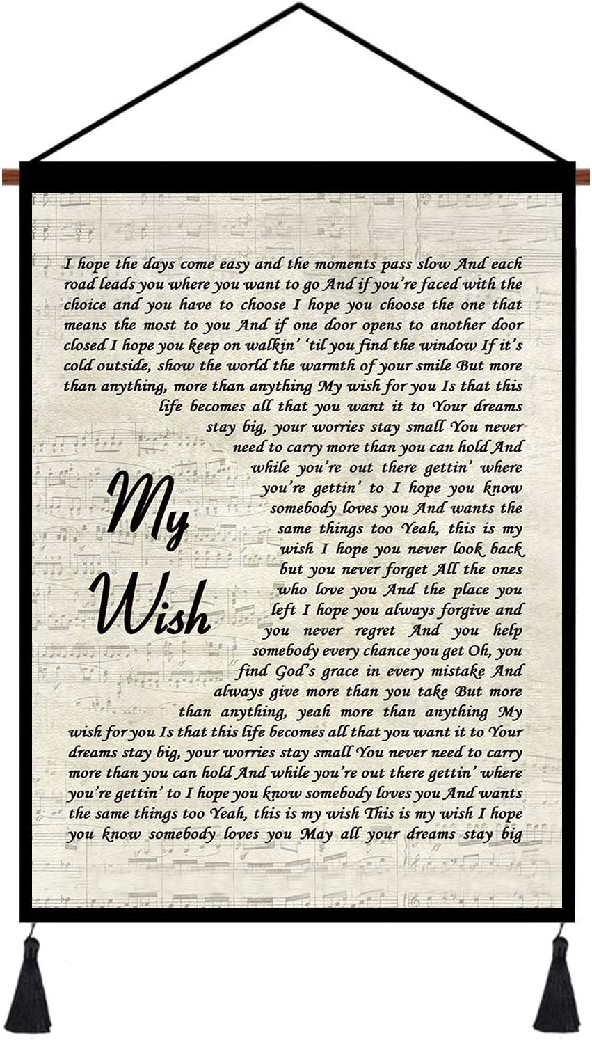 kasader My Wish Poster Unique Quote Song Lyric Retro Wall Art Gift Print Canvas Reel Home Decor 24x18in