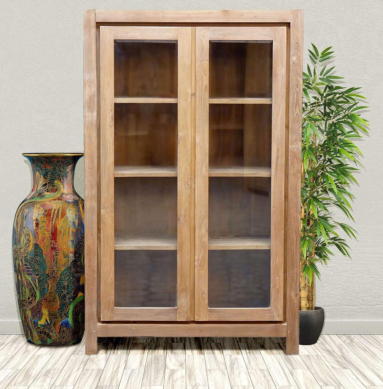 Amazon Recycled Teak Solo Cupboardcurio Bookcase Cabinet 2