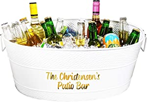 BREKX Personalized Aspen Galvanized White-Finish Metal Ice and Drink Bucket, Beverage Tub for Parties, 25-Quart