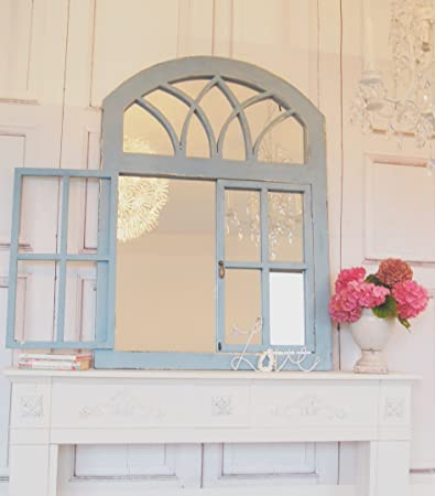 Specchio Decorativo in Legno Bianco Effetto Finestra H73 x B35 cm Mojawo Specchio da Parete di Alta qualit/à