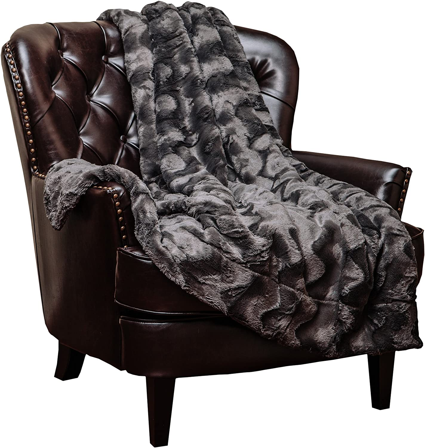 "Chanasya Fur Throw Blanket for Bed Couch Chair Daybed - Soft Wave Embossed Pattern - Warm Elegant Fuzzy Fluffy Faux Fur Plush Suitable for Fall Winter Summer Spring (50"" x 65"") - Dark Grey Blanket"