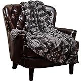 "Chanasya Super Soft Warm Elegant Cozy Fuzzy Fur Fluffy Faux Fur with Sherpa Wavey Pattern Plush Dark Gray Throw Blanket (50"" x 65"")- Solid Wave Pattern Charcoal Gray"