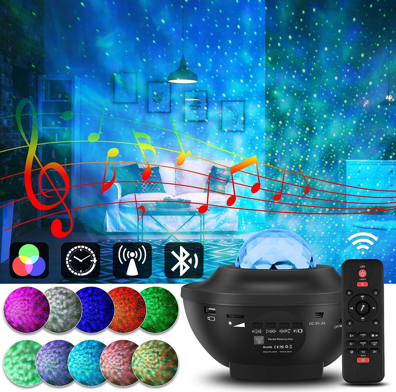 Proyector Estrellas,Lámpara Proyector Giratorio de Luz Estelar,Lámpara de Nocturna Estrellas(Control Remoto y Bluetooth),Proyector LED Color Reproductor de Música para Fiestas, Regalos y Decoración