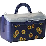 Sewing Kit Storage Box Organizer - Blue Flower Basket, Transparent Lid, Handle, Snaps Closed - Many Sized Compartments - By Adolfo Design