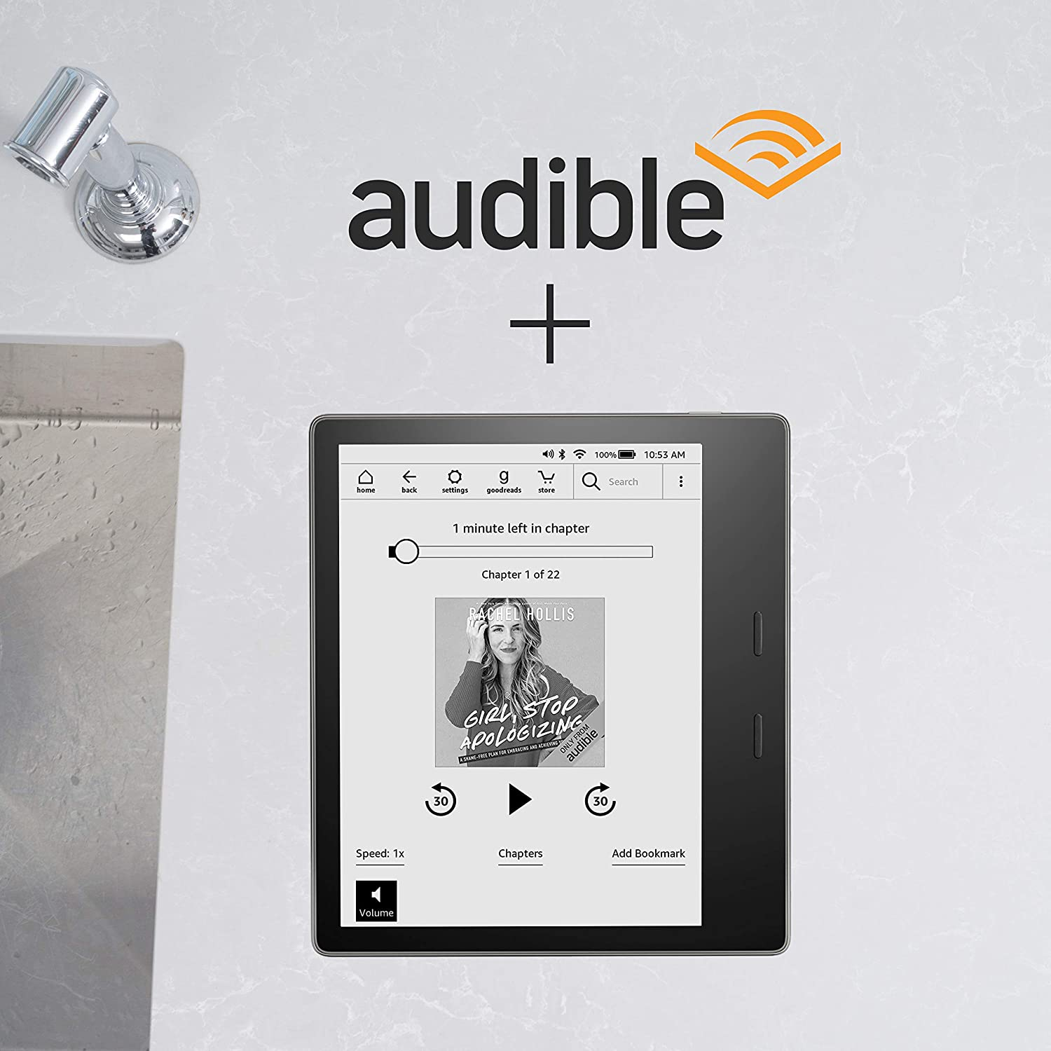 Amazon com: Kindle Oasis - Graphite, 32 GB, with Audible Free Trial