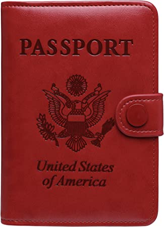 Leather Cover Passport Holder Travel Red Wallet with Logo