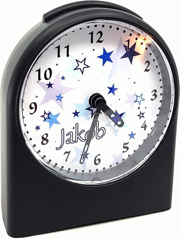 9,6 x 5,5 x 11,9 cm 104 g mit Bild personalisiert mit Namen CreaDesign Funkwecker ohne Ticken WU-50-1087 analog Kinderwecker schwarz mit Licht