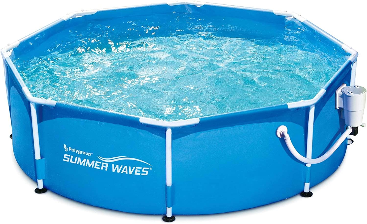 Summer Waves 8′ Metal Frame Above Ground Family Swimming Pool Set W/ Filter Pump