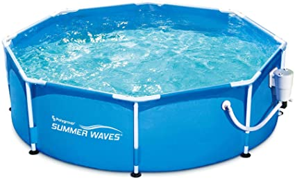 Summer Waves P2000830a Active 8ft X 30in Outdoor Round Frame Above Ground Swimming Pool Set With Filter Pump And Type D Filter Cartridge Blue Garden Outdoor