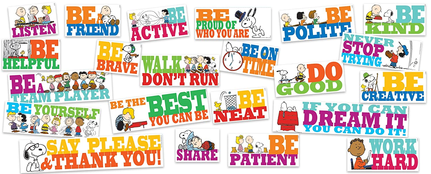 Eureka Snoopy and Peanuts Positive Quotes Classroom Bulletins, 0.1'' x 18'' x 28'', 22pc