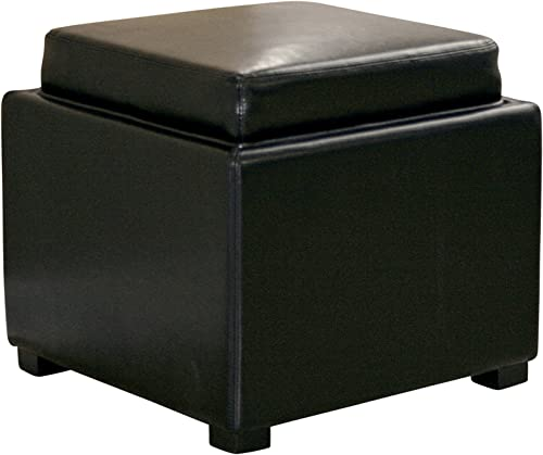 Baxton Studio Full Leather Square Storage Ottoman