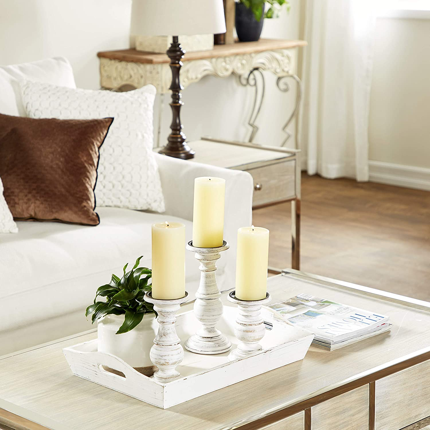 26 H Deco 79 Wood White Side Table 16 W