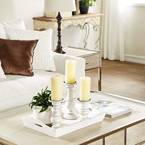 Deco 79 Distressed White Wood Candle Holder