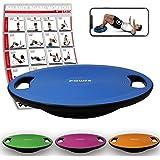 POWRX Balance Board inkl. Workout I Wackelbrett Ø 40cm mit Griffen I Therapiekreisel für propriozeptives Training und Physiotherapie