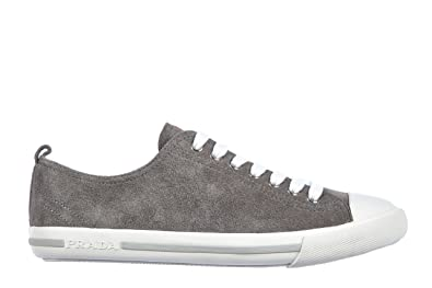 Prada Men s 4E2550 OQ4 F073E Grey Leather Sneaker EU 10 (44)   US 11 ead7433b1c