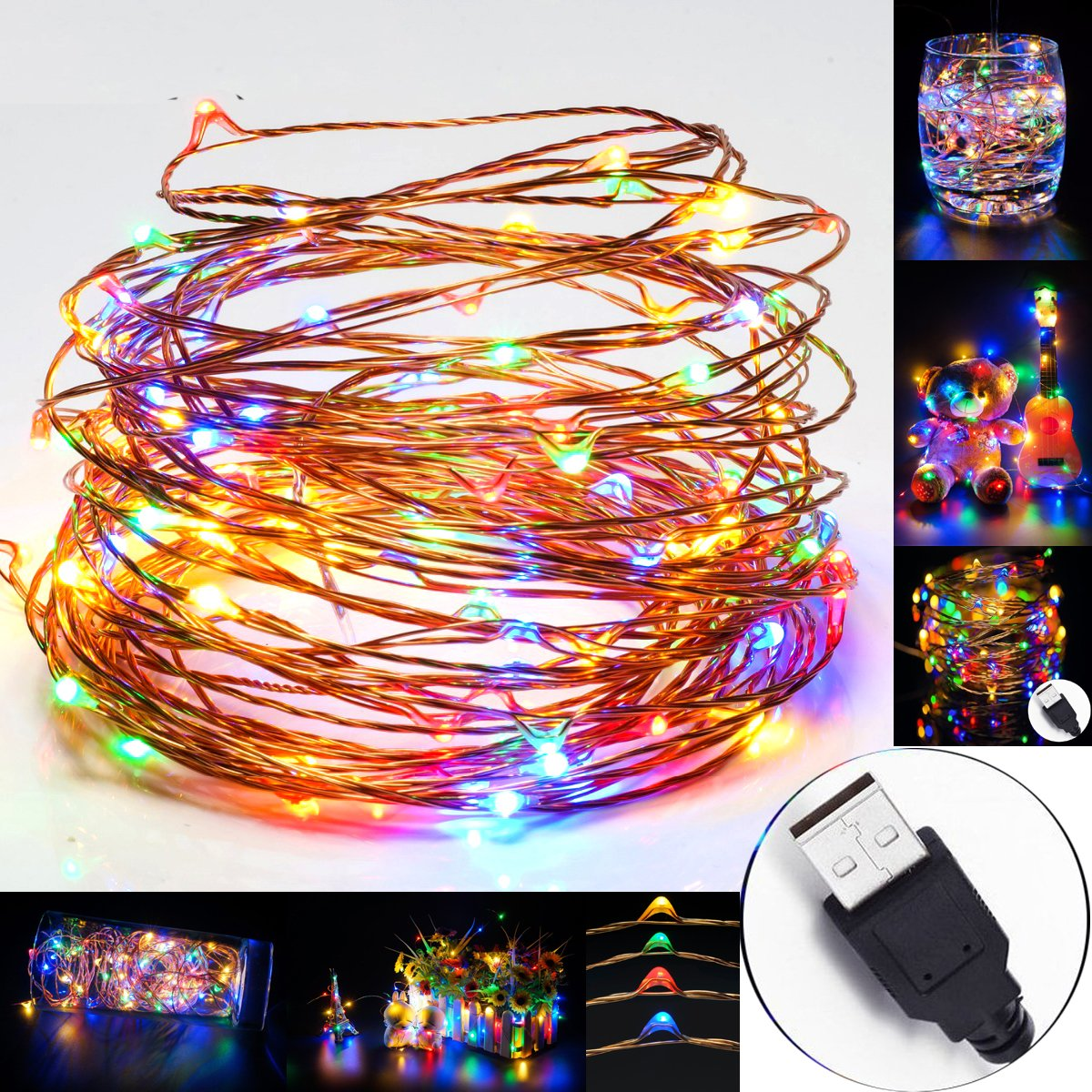 UrChoiceLtd® RGB 10M 33ft 100 LEDs USB Christmas Dimmable Indoor & Outdoor LED Strip Fairy Lighting Copper Wire String Lights Flexible Starry Waterproof Perfect for Xmas / New Year / Party (RGB) [Energy Class A+]