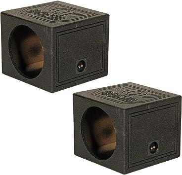 "4 Pack Q-POWER Single 10/"" Sealed Car Audio Powered Subwoofer Sub Box Enclosure"