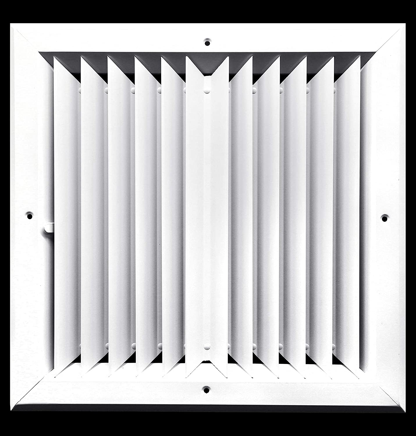 """8 x 8 (in) HVAC Vent Cover - 2 Way Aluminum Bar Ceiling Diffuser - with Opposing Dampers Via Lever Control [Outer Dimensions: 11"""" Width, 11"""" Height]"""